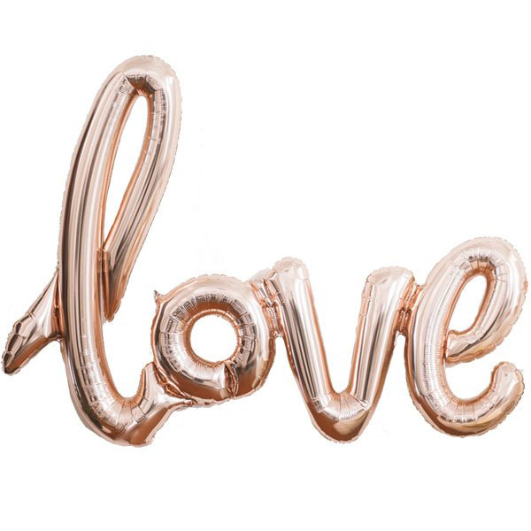 FOIL BALLOON KIT - AIR FILLED ROSE GOLD \'LOVE\' SCRIPT