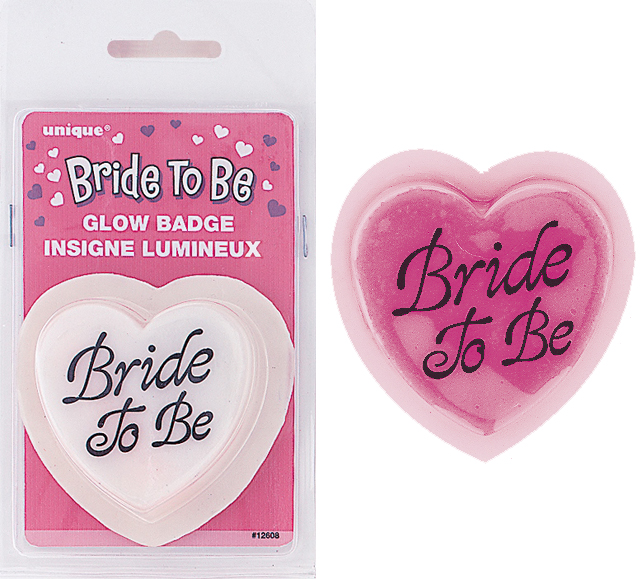 BRIDE TO BE HEART SHAPED GLOW BADGE