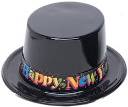HAT - NYE BLACK TOP HAT WITH MULTI COLOURED 'HAPPY NEW YEAR' 25