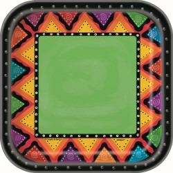 FIESTIVITY MEXICAN FIESTA SQUARE LUNCH PLATES PACK OF 10