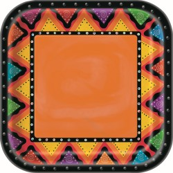 FIESTIVITY MEXICAN FIESTA SQUARE DINNER PLATES PACK OF 8
