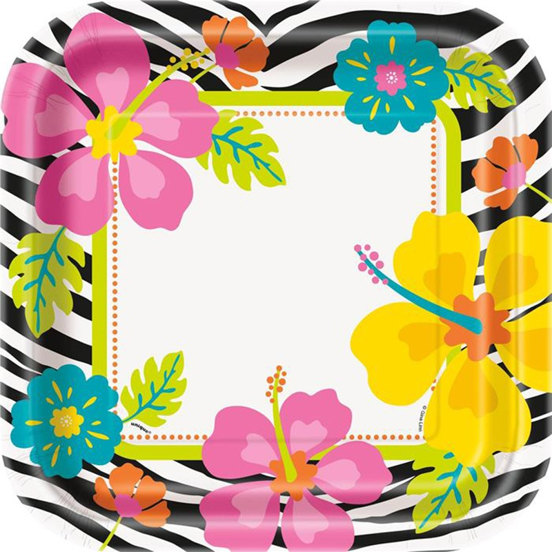 WILD LUAU SQUARE DINNER PLATES - PACK OF 8