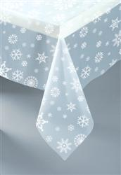 DISPOSABLE TABLECOVER - CLEAR WITH WHITE SNOWFLAKES