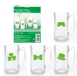 ST PATRICK'S DAY BEVERAGE GLASS CLINGS PACK OF 16