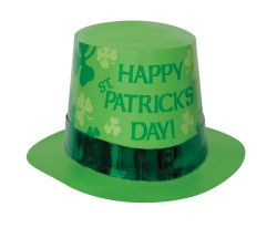 ST PATRICK'S DAY TOP HAT WITH GREEN FOIL BAND