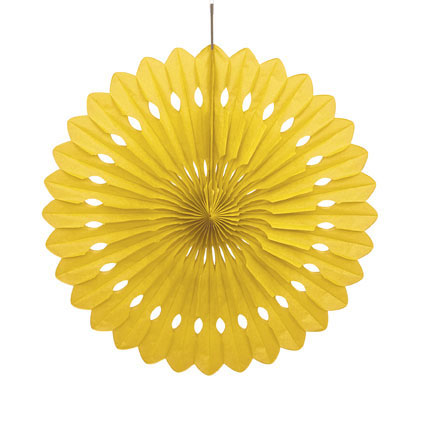 DECORATIVE FAN - SUN YELLOW 40CM