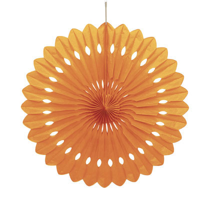 DECORATIVE FAN - ORANGE 40CM