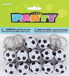 PARTY FAVOURS - SOCCER BALL KEY RINGS PACK OF 8