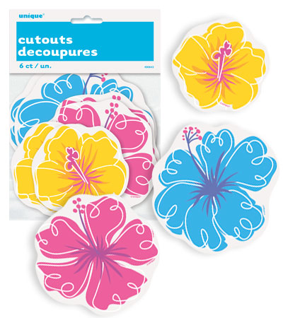 HAWAIIAN HIBISCUS MINI CUT OUTS PACK OF 6