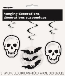 HALLOWEEN HANGING SKULL & BAT WHIRLS - PACK OF 3
