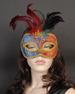 MASK - COLOUR CHANGING FEATHERED & GOLD BROCADE