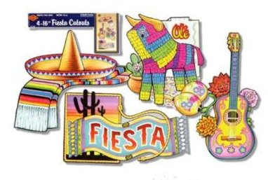 MEXICAN FIESTA CUTOUTS PK OF 4