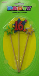 16TH BIRTHDAY MULTI COLOUR PICK CANDLE SET