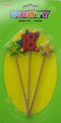 18TH BIRTHDAY CANDLE - 3 MULTI COLOURED PICK SET