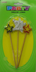 21ST CANDLE - SILVER \'21\' PICK SET