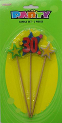 30TH BIRTHDAY CANDLE - 3 PICK SET