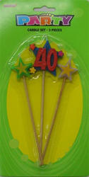 40TH BIRTHDAY CANDLE - 3 MULTI COLOUR PICK SET