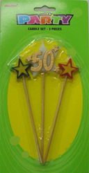 50TH BIRTHDAY/ANNIVERSARY CANDLE - GOLD '50' 3 PICK SET