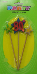 80TH BIRTHDAY PARTY CANDLE - 3 MULTI COLOURED PICK SET