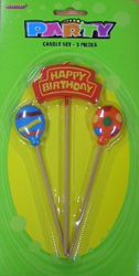 HAPPY BIRTHDAY PICK CANDLES - SET OF 3