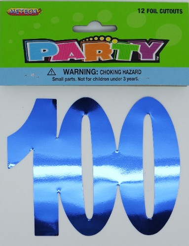 100TH BIRTHDAY FOIL CUT OUTS - PACK 12