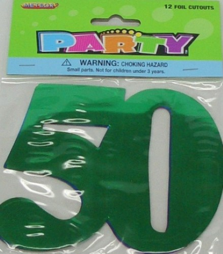 50TH BIRTHDAY/ANNIVERSARY FOIL CUT OUTS MULTI COLOURED - PACK 12