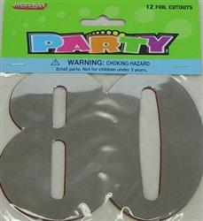 80TH BIRTHDAY PARTY FOIL CUT OUTS - PACK OF 12