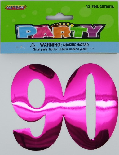 Image of 90th Birthday Foil Cut Outs  Pack 12
