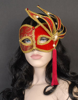 MASK - RED & BLACK VENETIAN STYLE WITH TASSLE