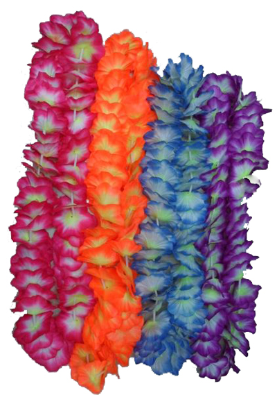 HAWAIIAN FLOWER LEIS - PK 50 - 4 COLOURS