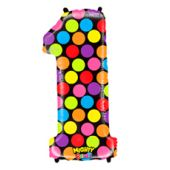 FOIL BALLOON SUPER SHAPE - NUMBER 1 MIGHTY BRIGHT & HUGE - POLKA