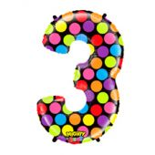 FOIL BALLOON SUPER SHAPE - NUMBER 3 MIGHTY BRIGHT & HUGE - POLKA
