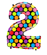FOIL BALLOON SUPER SHAPE - NUMBER 2 MIGHTY BRIGHT & HUGE - POLKA