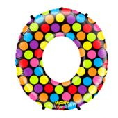FOIL BALLOON SUPER SHAPE - NUMBER 0 MIGHTY BRIGHT & HUGE - POLKA