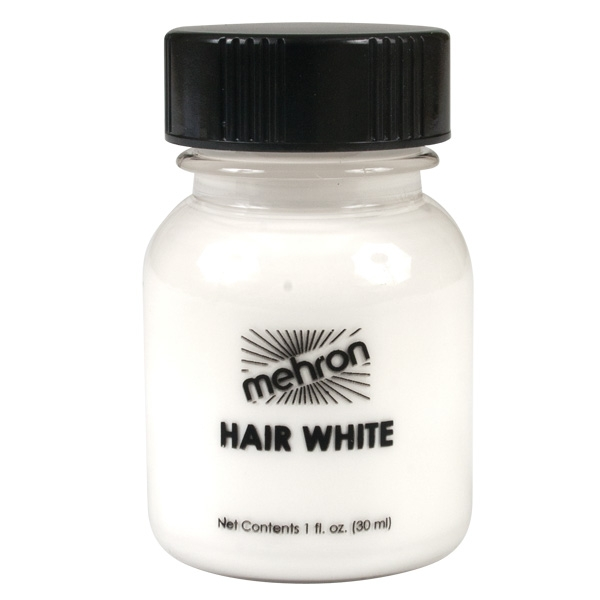 MEHRON HAIR WHITE & BRUSH FOR SANTA/WIZARD - 30ML