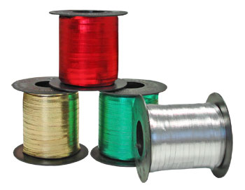 CURLING RIBBON ROLLS - METALLIC IN A VARIETY OF COLOURS