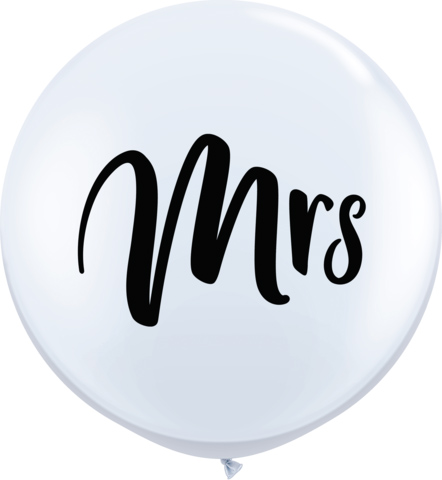 BALLOONS LATEX - 'MRS' WEDDING BALLOON 3' ROUND PACK OF 2