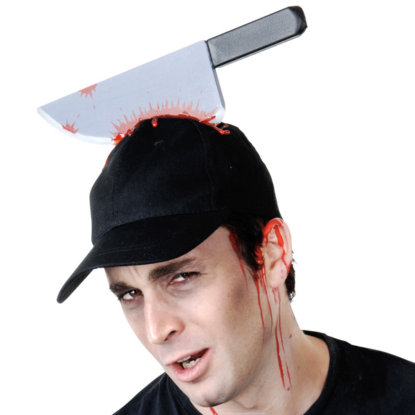 BLACK BASEBALL CAP WITH BLOODY KNIFE