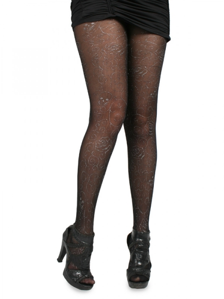 STOCKINGS - GOTH BEAUTY BLACK GLITTER