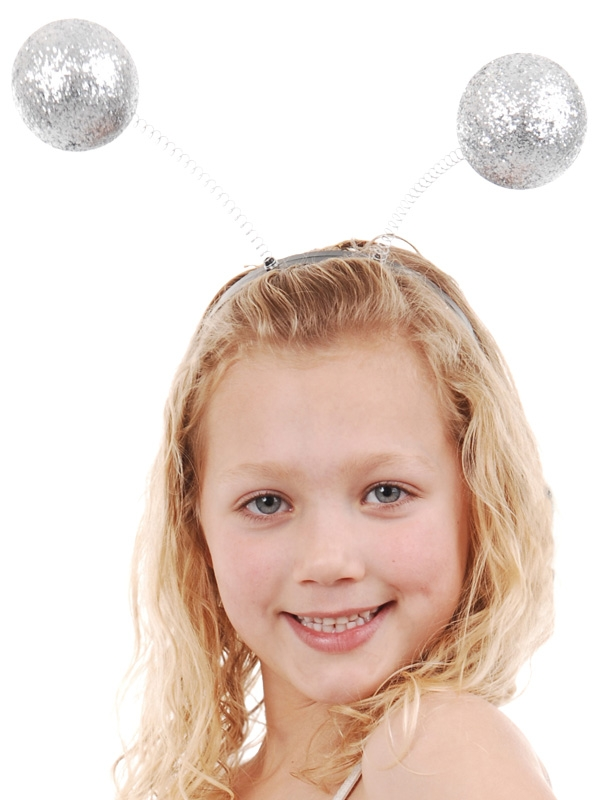 ALIEN SILVER GLITTER ANTENNAE HEAD BAND BOPPER