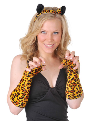 LEOPARD HEADBAND AND GLOVES SET