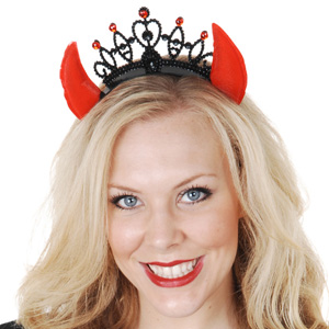 DEVIL HORN TIARA WITH CROWN