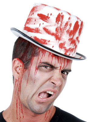 BLOOD STREAKED WHITE TOP HAT