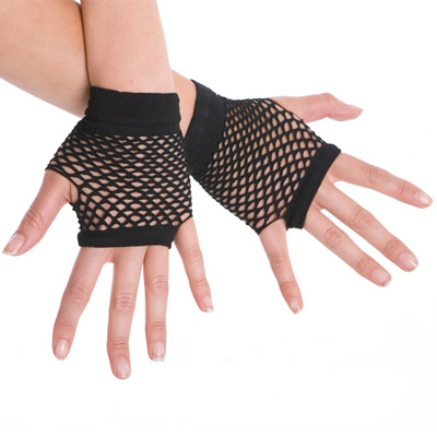 1980\'S STYLE FINGERLESS FISHNET GLOVES - BLACK