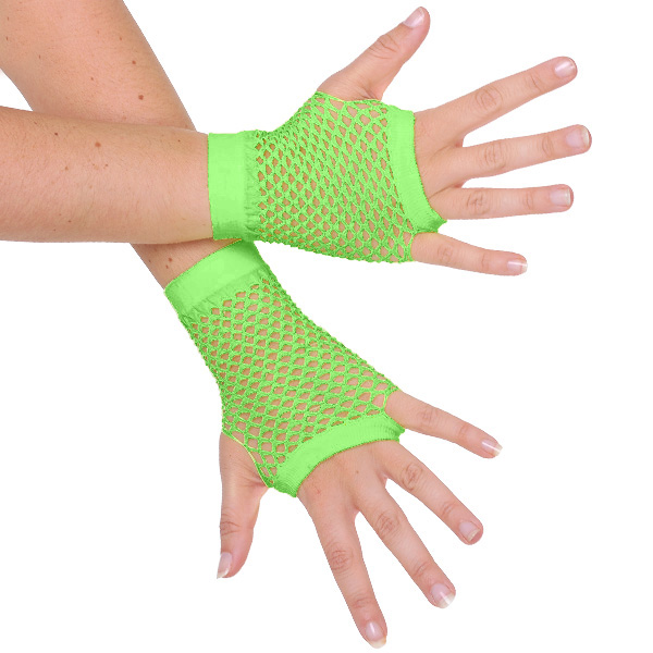 1980'S STYLE FINGERLESS FISHNET GLOVES - FLURO GREEN