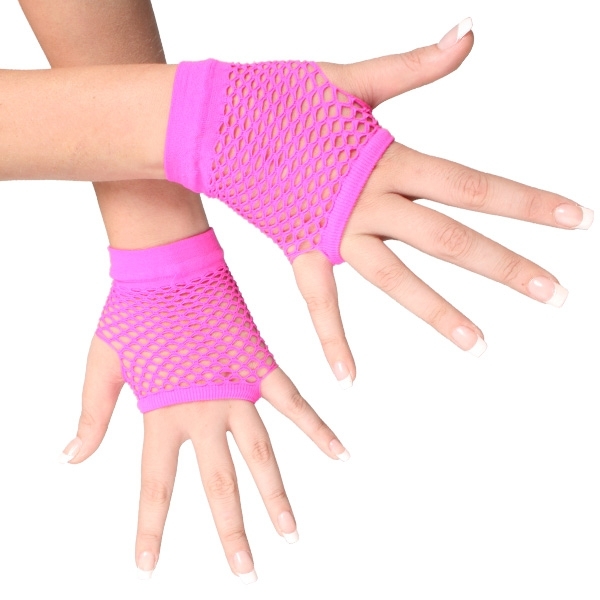 1980'S STYLE FINGERLESS FISHNET GLOVES - FLURO PINK