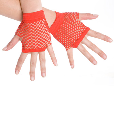 1980'S STYLE FINGERLESS FISHNET GLOVES - BRIGHT RED