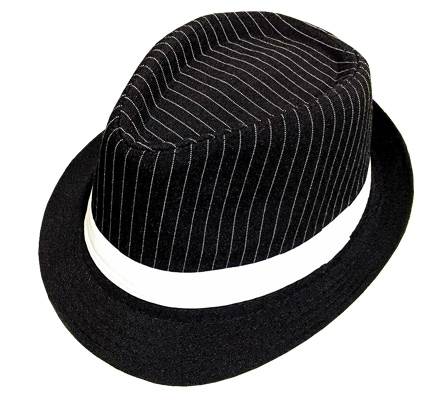 GANGSTER HAT - PINSTRIPE WITH WHITE BAND FEDORA STYLE