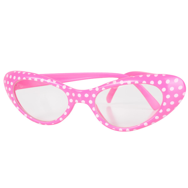 1960'S GLASSES PINK WITH WHITE SPOTS