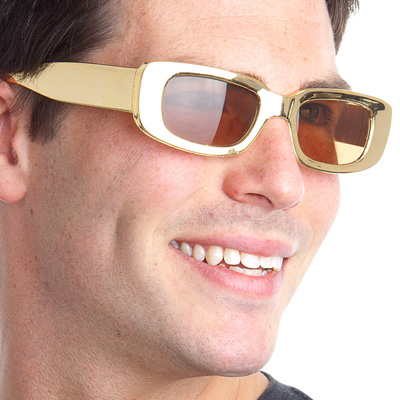 GOLD COP GLASSES WITH BROWN LENS
